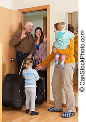 Family coming to grandmother  home