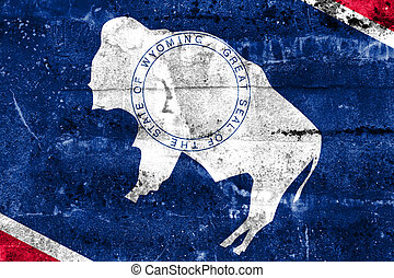 Wyoming State Flag painted on grunge wall