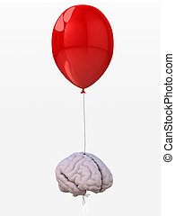 brain tied to a balloon that flies - human brain tied to a...