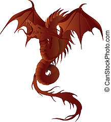 dragon, fire dragon, flames - flames, fantasy, vector,...