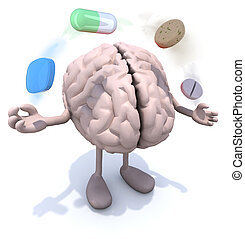 brain with arms and legs and big pills in the air - human...