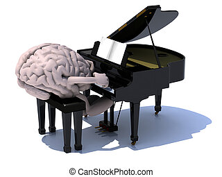 brain with arms and legs playing a piano - human brain with...