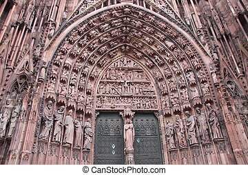 Portal of Strasbourg cathedral in Alsace, France