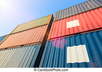 Stack of Cargo Containers at the docks under sunlight
