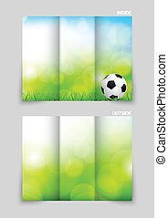 Tri-fold brochure template design with soccer ball and green...