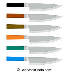 Color Set of Steel Kitchen Knives. Vector