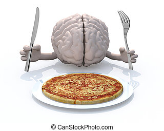 human brain with hands, fork and knife in front of a pizza...