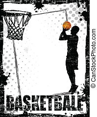 Dirty basketball poster background, vector illustration