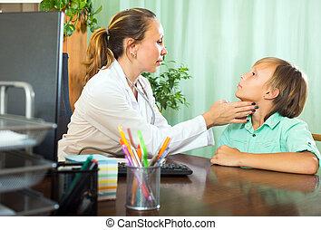 doctor, verificar, tiroides, Adolescente