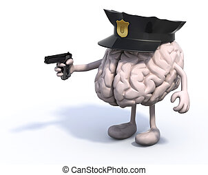 brain with police cop and gun on hand - human brain with...