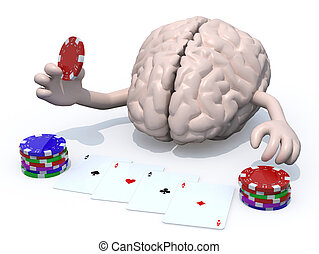 human brain with arms and legs been playing poker, 3d...