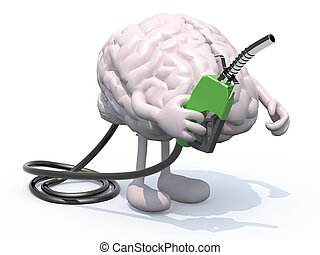 human brain with arms, legs and fuel pump in hand, 3d...