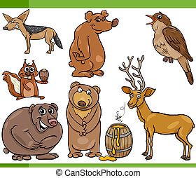 wild animals cartoon set illustration - Cartoon Illustration...