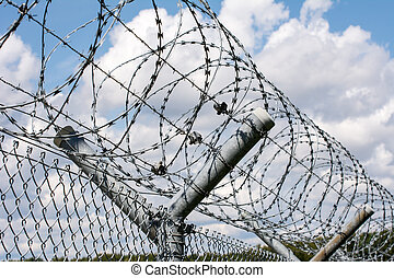 Barbwire - Security barrier with a barbed wire fence
