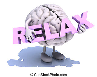human brain that embraces word relax - human brain with arts...