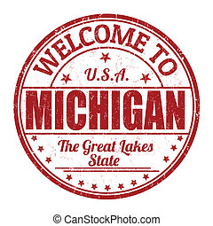 Welcome to Michigan stamp - Welcome to Michigan grunge...