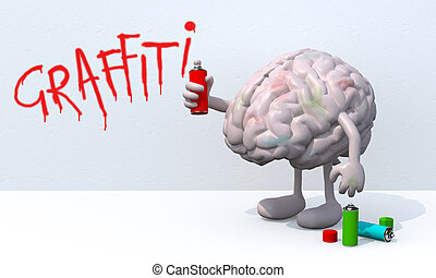 brain with arms, legs and spray can in hand, in front of a...