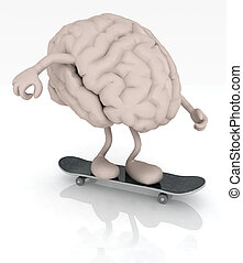 human brain with arms and legs on skateboard, 3d...