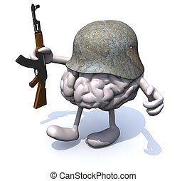 human brain with arms and legs, german helmet and rifle, 3d...