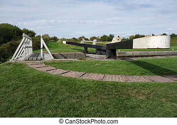 Caen Hill Lock - One of the twenty-nine Caen Hill Locks,...