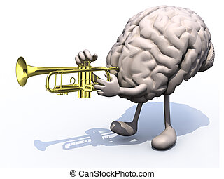 human brain with arms, legs playng trumpet, 3d illustration