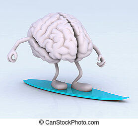 brain with arms and legs on surf board