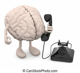 human brain with arms, legs and old phone on hand, 3d...