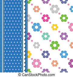 flowers and polka dot card - illustration of colorful...