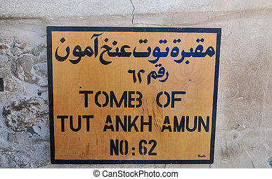 Tomb of Tut Ankh Amun, Valley of the Kings, Egypt - Sign...