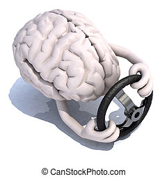 human brain with arms and steering wheel car, 3d...