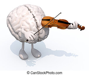 human brain with arms and legs who plays the violin, 3d...