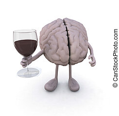 brain with arms and legs and glass of red wine, 3d...