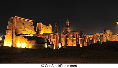 Temple of Luxor, Egypt at Night - Illuminated Luxor Temple...