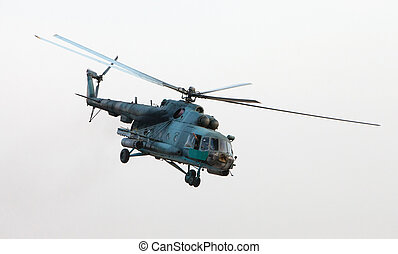 Ukrainian military helicopter in flight after a combat...