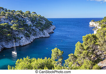 Calanques of Port Pin with boat, Cassis, France