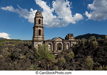 San Juan Parangaricutiro Church covered by lava flow fromthe...