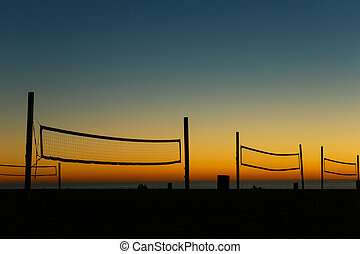 beach volleyball nets at sunset in Los Angeles