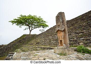 estatua, regla, jaguar, pájaro, Peccary, Tonina, Chiapas,...