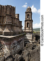 San Juan Parangaricutiro Church in Paricutin - the San Juan...