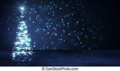 blue christmas tree of glowing particles loop - blue...