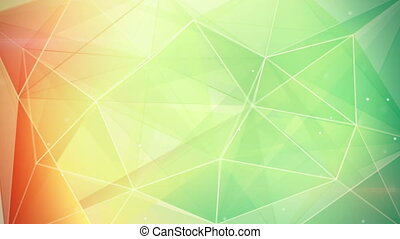 abstract triangle geometrical green orange background loop -...