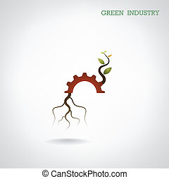 Green industry concept. Small plant and gear symbol, business and green idea, education concept
