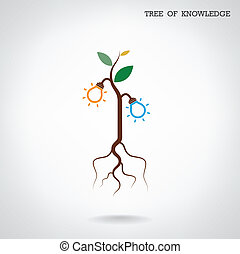 Tree of Knowledge concept Education and business sign Vector...