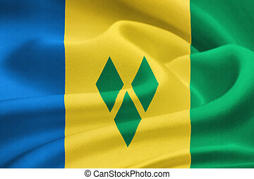 flag of Saint Vincent and the Grenadines waving in the wind...