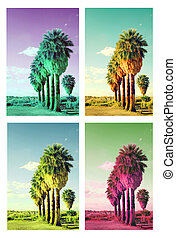 Pop art palm trees collage cross processed