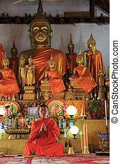 A monk praying in front of golden Buddhas, vertical
