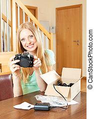 digital, jovem,  câmera, loura, tabela, Novo, sorrindo