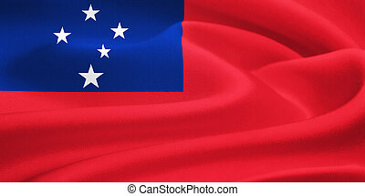 flag of Samoa waving in the wind Silk texture pattern