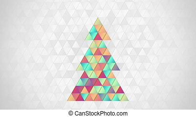 christmas tree shape of colorful triangles loop - christmas...