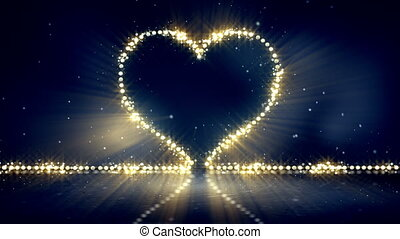 heart shape christmas lights loop background - heart shape...